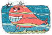 Red whale keeps a small boat — Stock Vector
