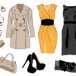 Постер, плакат: Woman wardrobe clothes accessories set