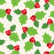 Seamless pattern of holly berry sprig.  Vector illustration — Stock Vector #52409423