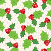 Seamless pattern of holly berry sprig.  Vector illustration — Stock Vector