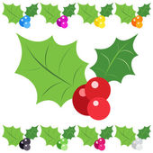 Set of holly berry sprig icons isolated on white background — Stock Vector