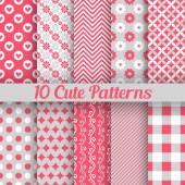 Cute different seamless patterns. Vector illustration — Stock vektor