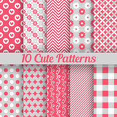 Cute different seamless patterns. Vector illustration — Stok Vektör