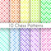 Chess plaid vector seamless patterns. Endless texture — Stock Vector