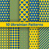 Ukrainian geometric seamless patterns. Vector set for patriotic — Stock Vector