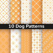 Set of dog seamless vector pattern — Stock Vector