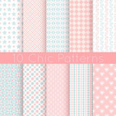 Chic different vector seamless patterns. Pink, white and blue — Stock Vector