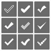 Set of different vector check marks or ticks — Stock Vector