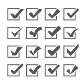 Set of different vector check marks or ticks in boxes — Stock Vector