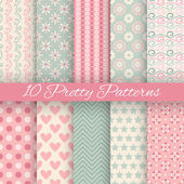 Pretty pastel vector seamless patterns — Stock Vector