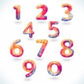 Numbers set in modern polygonal crystal style. Vector illustrati — Stock Vector