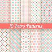 Retro different seamless patterns. Vector illustration — Stock vektor