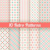 Retro different seamless patterns. Vector illustration — Stockvektor