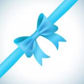 Big shiny blue bow and ribbon on white background. Vector — 图库矢量图片
