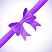Big shiny purple bow and ribbon on white background. Vector — Stock Vector