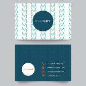 Business card template, blue and white pattern vector design editable — Stock Vector