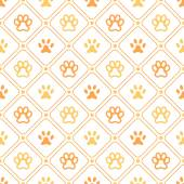Animal seamless vector pattern of paw footprint, line and dot — Stockvector