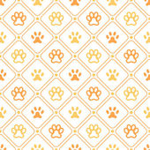 Animal seamless vector pattern of paw footprint, line and dot — Stockvektor