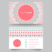 Business card template, blue, white and pink beauty fashion pattern vector design — Cтоковый вектор