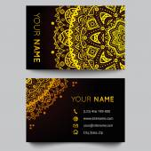 Business card template, black and golden beauty fashion pattern vector design — Vetorial Stock