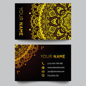 Business card template, black and golden beauty fashion pattern vector design — Stockvector