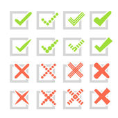 Set of different vector check marks or ticks and crosses — Stok Vektör