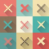 Set of different retro vector crosses and tics — Stockvektor