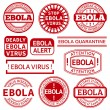 Set of red stamp with Ebola concept text on white background — Stock Vector #56587349