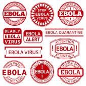 Set of red stamp with Ebola concept text on white background — Stock Vector