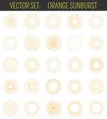Set of orange sunburst. Geometric shapes and light ray collection — Stock Vector