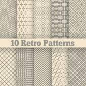 Retro different seamless patterns. Vector illustration — Stock Vector