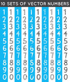 Universal different sets of simple drawn numbers. Vector illustration — Stockvektor