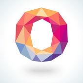 Number zero in modern polygonal crystal style. Vector illustration — Stock Vector