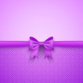 Romantic vector purple background with cute bow and pattern — Stock Vector