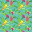 Nature seamless pattern with birds and leafs — Stock Vector #58307467