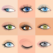 Set of female eyes images with beautifully fashion make up. Vector — Stock Vector