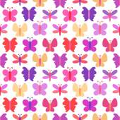 Cute seamless vector pattern of colorful butterfly silhouettes — Stock Vector