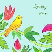 Bright yellow, orange little tropical forest bird — Stock Vector