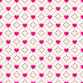 Heart shape vector seamless pattern. Pink and white colors — Vector de stock