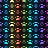 Animal seamless spectrum vector pattern of paw footprint — Stock Vector