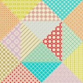 Retro patchwork. 16 Vector seamless patterns. Endless texture — Wektor stockowy