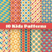 Retro kids vector seamless patterns. Endless texture — Wektor stockowy
