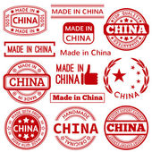 Set of various Made in China red vector graphics and labels — Stock Vector
