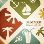 Abstract summer vector illustration. Retro beach and sun concept — Stock Vector #68490407