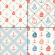 Seamless vector pattern set of anchor, sailboat shape in frame — Stock Vector #68490445