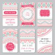 Set of perfect wedding templates with doodles tribal theme — Stock Vector #68490511