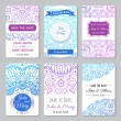 Set of perfect wedding templates with doodles tribal theme — Stock Vector #69628565