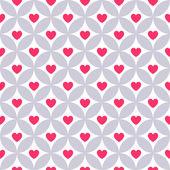 Herz Form Vektor nahtlose Muster. Rosa Farbe — Stockvektor