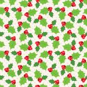 Seamless pattern of holly berry sprig.   illustration — Stock Photo