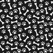 Animal seamless  pattern of paw footprint and bone — Stock Photo